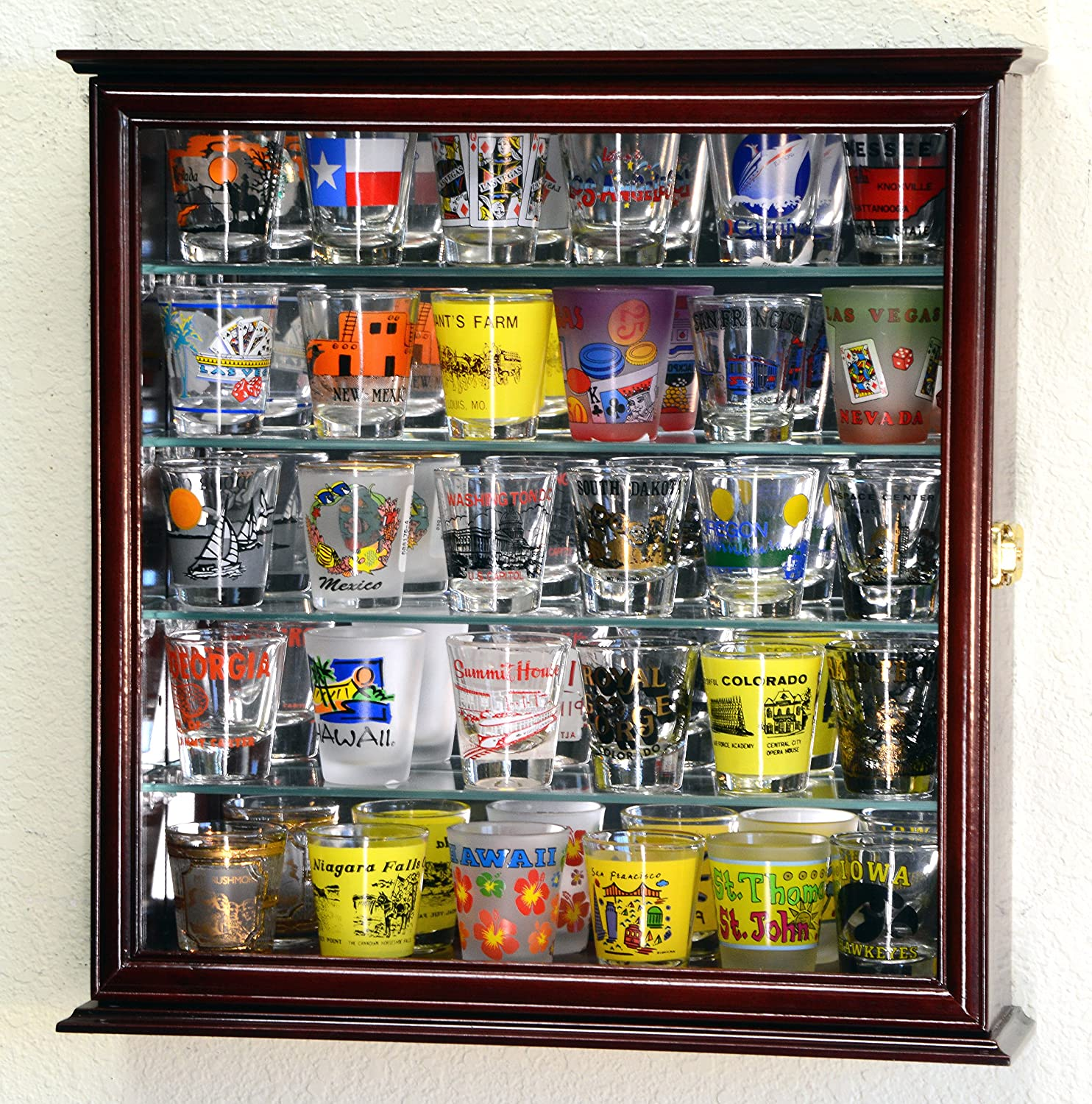 Amazon Shot Glasses Display Case Holder Cabinet Wall Rack w