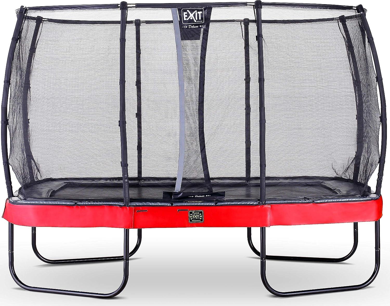 EXIT Elegant Premium Trampolin 244x427cm mit Deluxe Sicherheitsnetz - rot