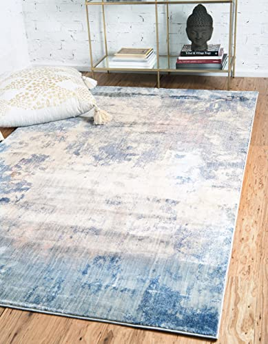 Unique Loom Helios Collection Modern Vintage Over-Dyed Blue Area Rug 8 0 x 10 0