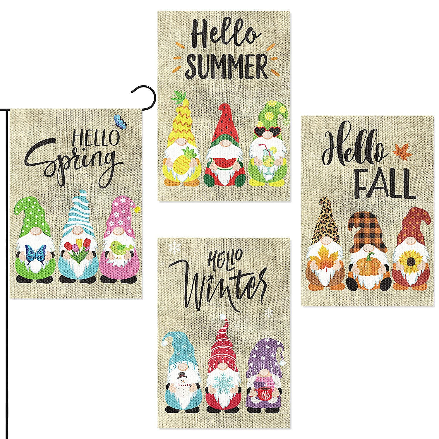 WATINC 4Pcs Seasonal Gnomes Garden Flags Set Hello Spring Summer Fall Winter Colorful Party Decoration Supplies Double Sided Burlap House Flag for Home Indoor Outdoor Yard Lawn 12.6 x 18.1 Inch