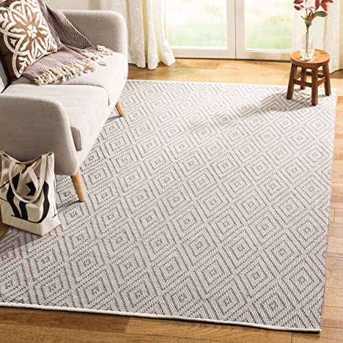 Safavieh Montauk Collection MTK811A Handmade Flatweave Grey and Ivory Cotton Area Rug 10' x 14'