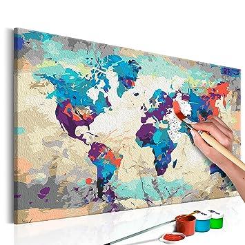 Murando Malen Nach Zahlen Weltkarte 60x40cm Malset Diy Na 0231 Da