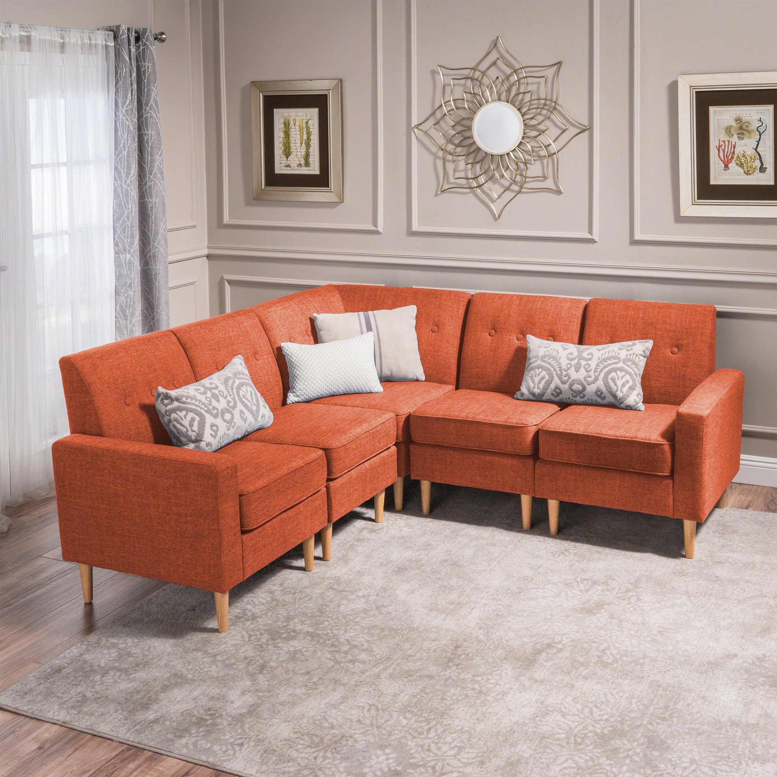Terrific Great Deal Furniture Samuel Mid Century Modern 5 Piece Muted Orange Fabric Sectional Sofa Set Unemploymentrelief Wooden Chair Designs For Living Room Unemploymentrelieforg