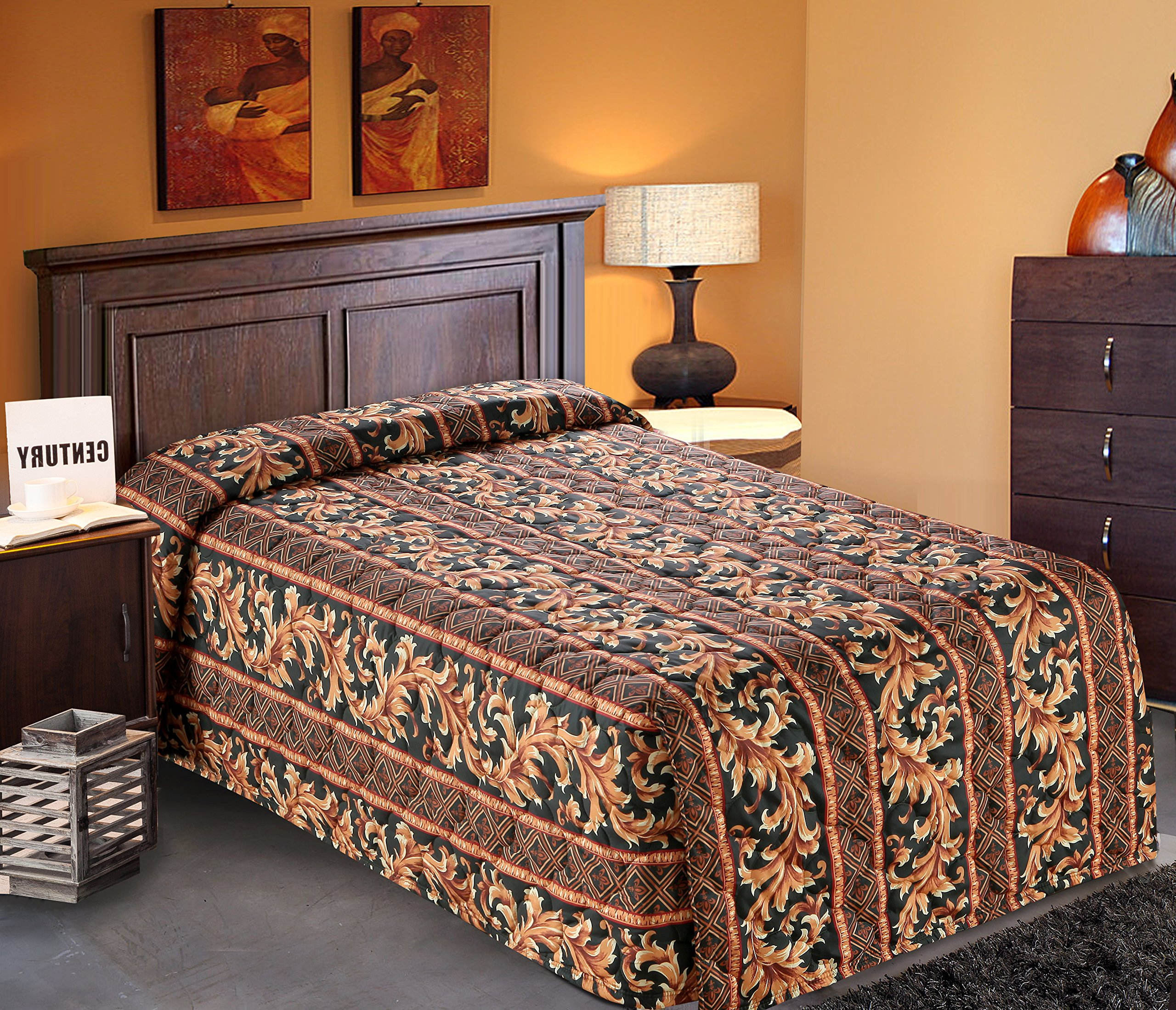 Quilted Bedspread Designed for Hotel/Motel-Resort-Air B&B & Home Over Sized 21'' Fall on Each Side 100% Polyester Fabric-Modern Print-Green-WaterFall Style(Twin 81x110-4.7 lbs)