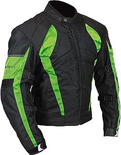 Milano Sport Gamma Mens Motorcycle Jacket (Black/Green, Medium)