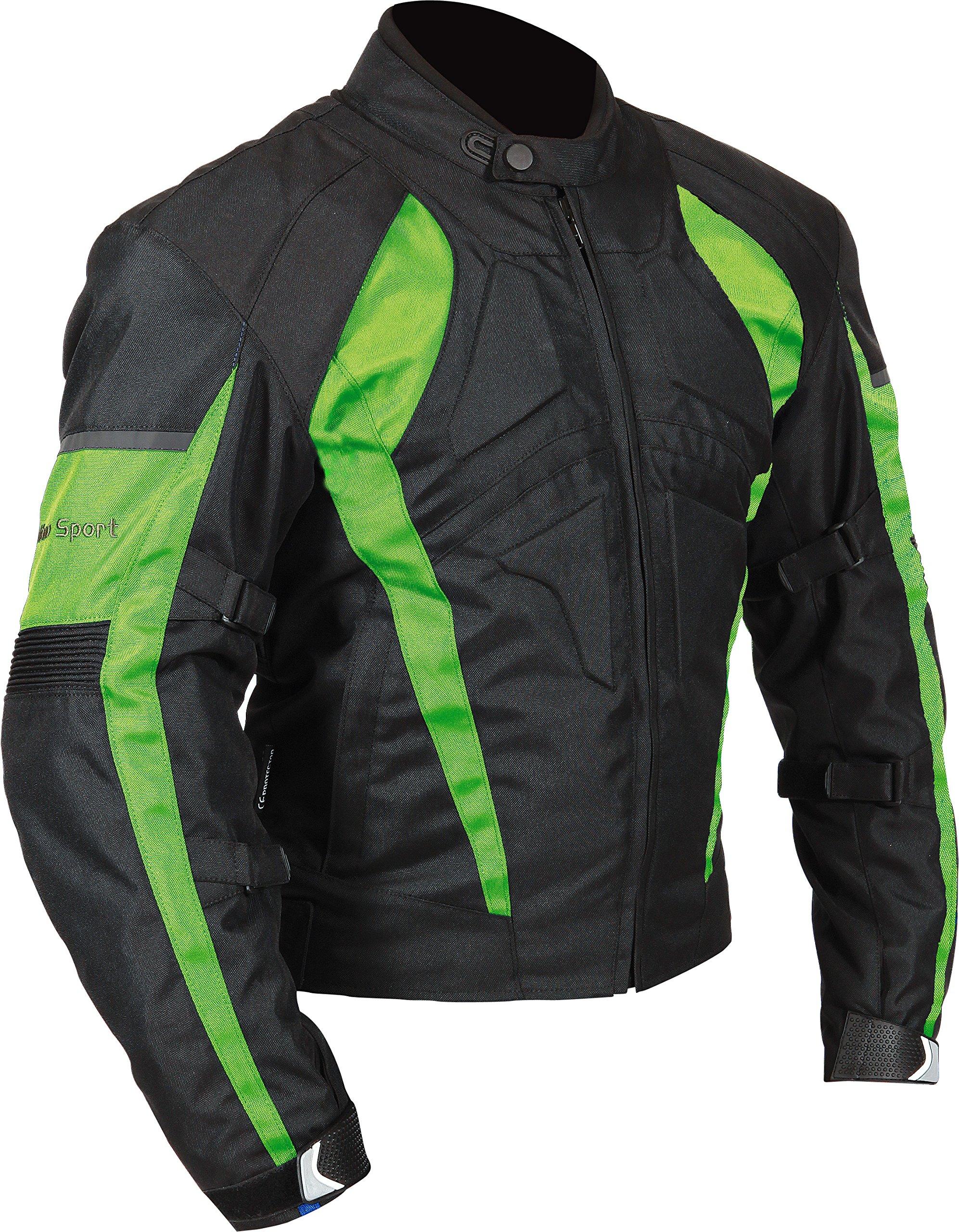 Milano Sport Gamma Men's Motorcycle Jacket (Black/Green, Small)