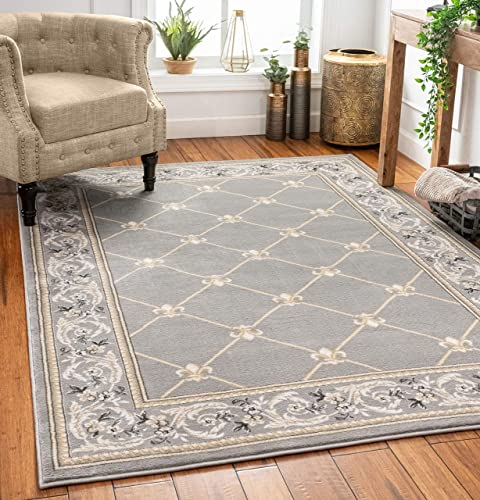 Patrician Trellis Grey Lattice Area Rug European French Formal Traditional Area Rug 8 x 11 Easy Clean Stain Fade Resistant Shed Free Modern Classic Contemporary Thick Soft Plush Living Dining Room