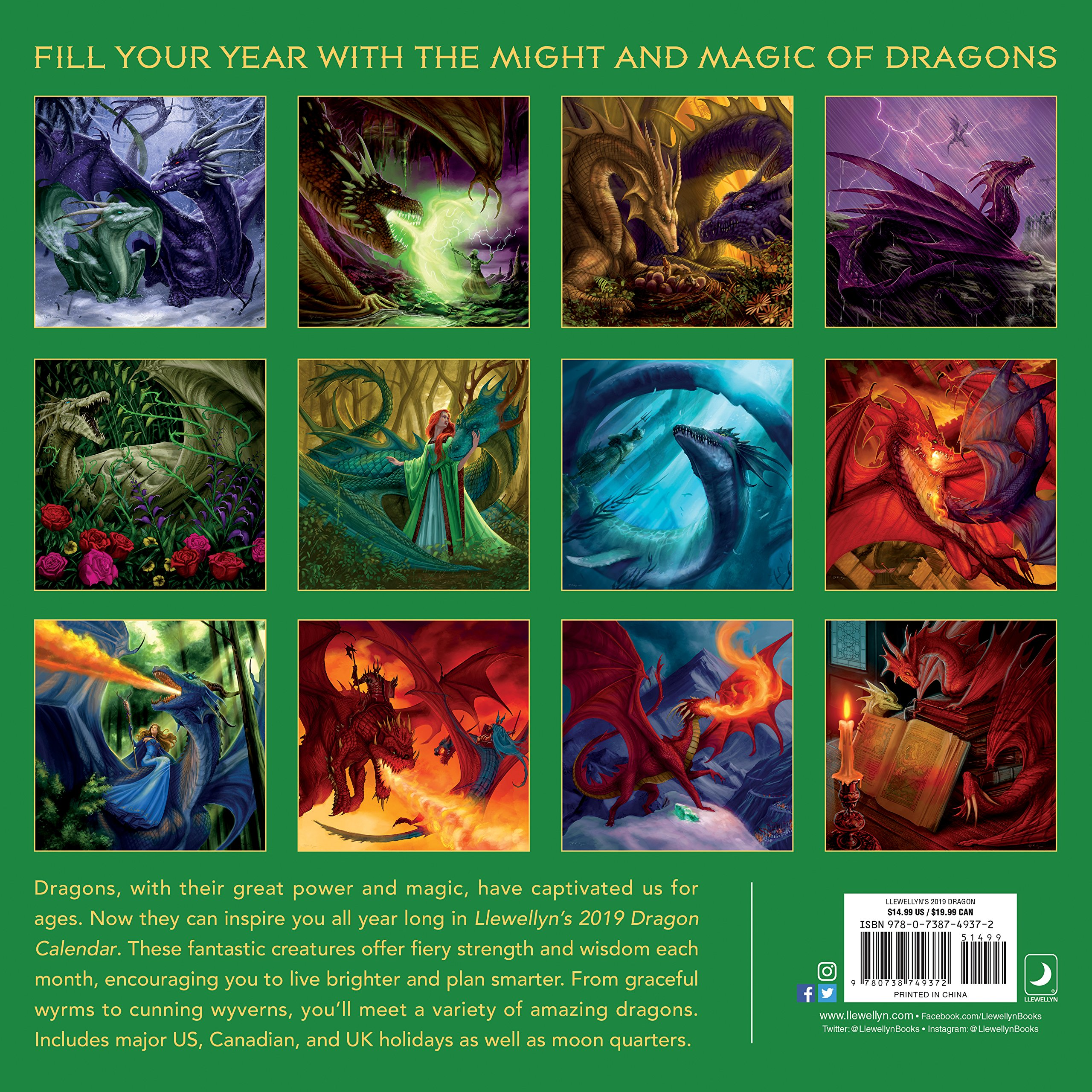 Llewellyn's 2019 Dragon Calendar by Llewellyn Publications (Image #3)