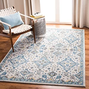 Safavieh Evoke Collection EVK224C Contemporary Ivory and Light Blue Area Rug (3' x 5')