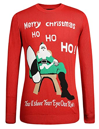 477518ffdc32 SSLR Herren Lustig Xmas Pullover Weihnachtspullover Gestrickt Strickjacke  Sweatershirt Rundhalsausschnitt (Small, Rot)