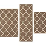 Kitchen Rugs Set, Maples Rugs [Made in USA][Rebecca] 3 Piece Sets Non Slip Padded Small Area Rugs for Living Room, Entryway, and Bedroom - Café Brown/White