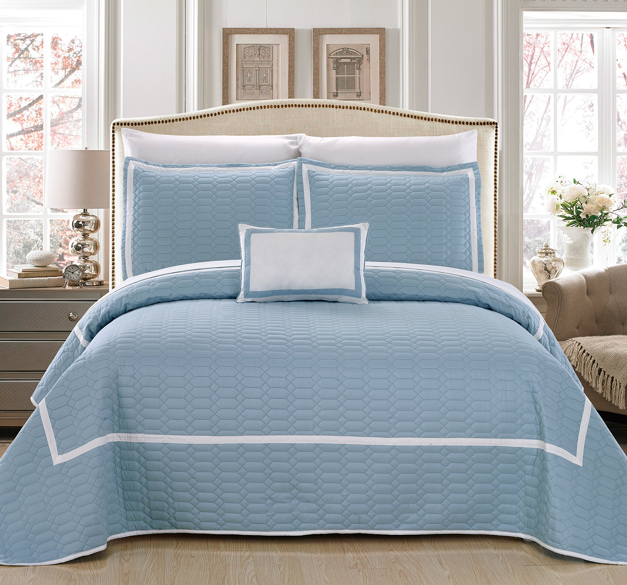 Chic Home QS4837-AN Mesa 8 Piece Quilt Cover Set Hotel Collection Two Tone Banded Geometric Embroidered Quilted Bed in a Bag Bedding, Blue, King