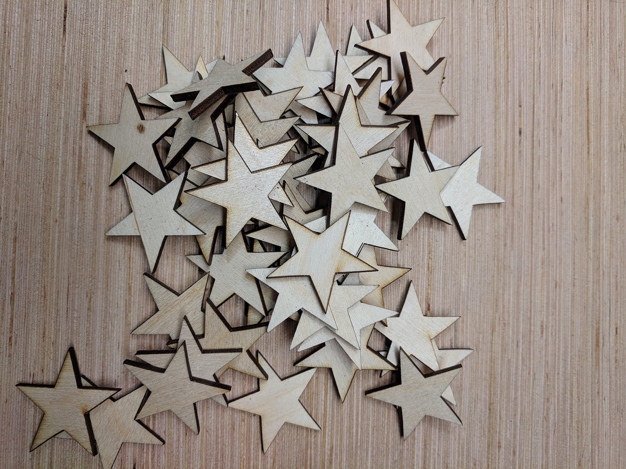 1000-1.25 inch Mini Wood Stars - Laser Cut, Flag Making 1 1/4'' Wooden Stars- DIY Craft Supplies Flag Making, Rustic Decor, Wood Confetti, Patriotic