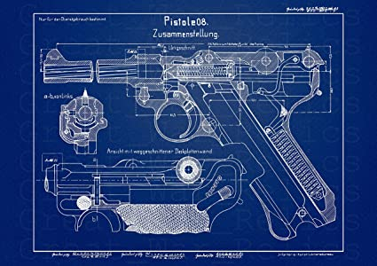 Amazon.com: P08 Luger Pistol 13 x 16.9 Yellow Wood Framed ...