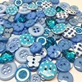 Rosey's Craft Shop® 170 x Mix Wooden Acrylic Resin Blue Buttons Collection Cardmaking Embellishments colour ranges