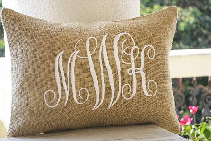 Amore Beaute Handcrafted Customizable Burlap Monogram Pillow Covers Custom Lumbar Monogram Pillow Cursive Three Letters Monogram Pillows Initial Cushion Covers Dorm Decor Valentine Pillow 12x20 Home Kitchen