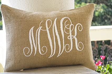 Amazon Amore Beaute Handcrafted Customizable Burlap Monogram Magnificent Initial Pillow Covers