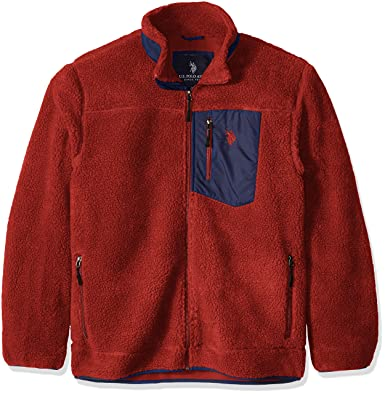 U.S. Polo Assn. Mens Faux Sherpa Jacket, Engine Red, Large ...