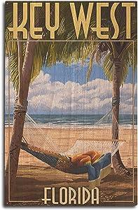 Lantern Press Key West, Florida - Hammock Scene (10x15 Wood Wall Sign, Wall Decor Ready to Hang)