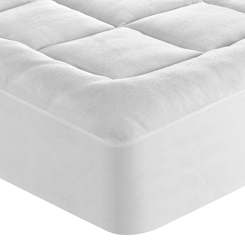 P & R ropa de cama Algodón Egipcio Microplush Blanco Colchón Pad en varios tamaños: Amazon.es: Hogar