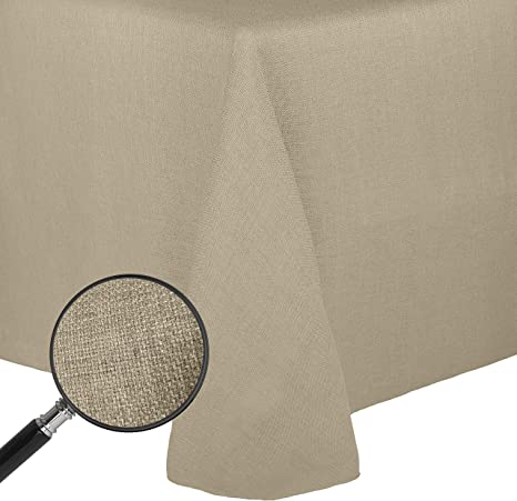 Amazon Com Ultimate Textile Faux Burlap Havana 70 X 104 Inch Oval Tablecloth Basket Weave Natural Home Kitchen
