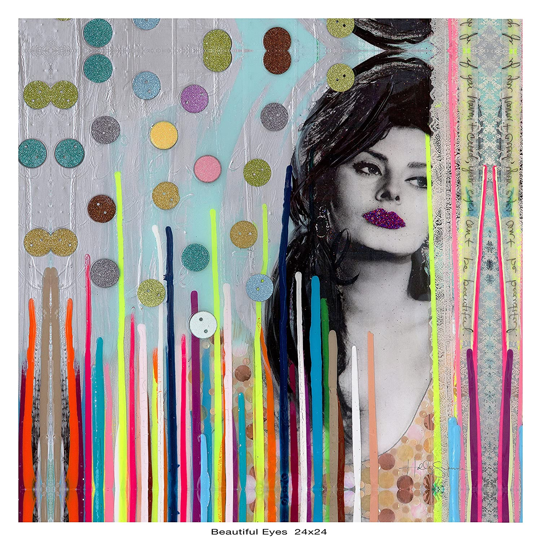 Kings Wood Art HS/_Beautiful Eyes 24x24 Fine Art Canvas Print Multicolor