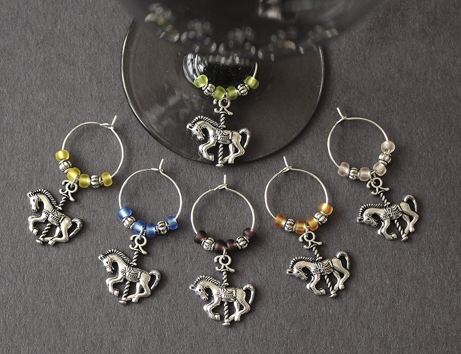 Carousel Horse Wine Glass Charms-Set of 6