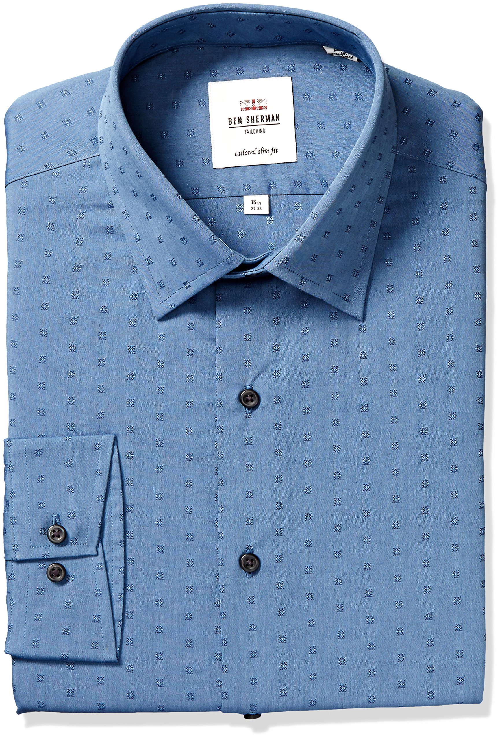 Ben Sherman Men's Slim Fit Foral Dobby Dress Shirt, Blue, 17'' Neck 34/35'' Sleeve
