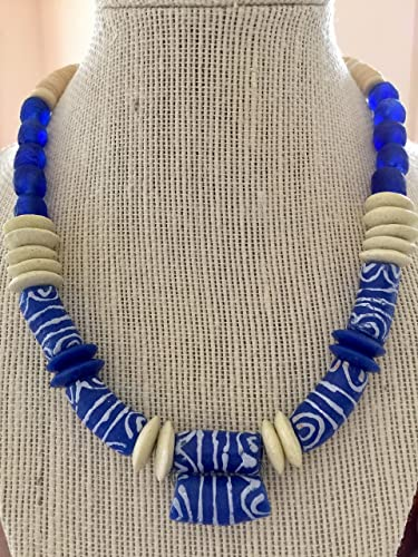 ff57a5086a1b7e Image Unavailable. Image not available for. Color: African Beaded Necklace,  Ghana Krobo Bead Jewelry ...