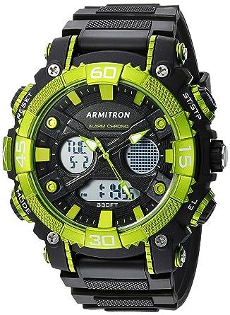 0675a53249c3 Armitron Sport Men's 20/5108GRN Green Accented Analog-Digital Chronograph  Black Resin Strap Watch