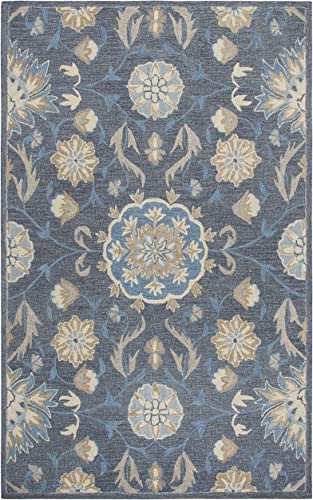 Rizzy Home Resonant Collection Wool Area Rug, 8 x 10 , Dark Gray Blue Gray Tan Coco Gray Floral
