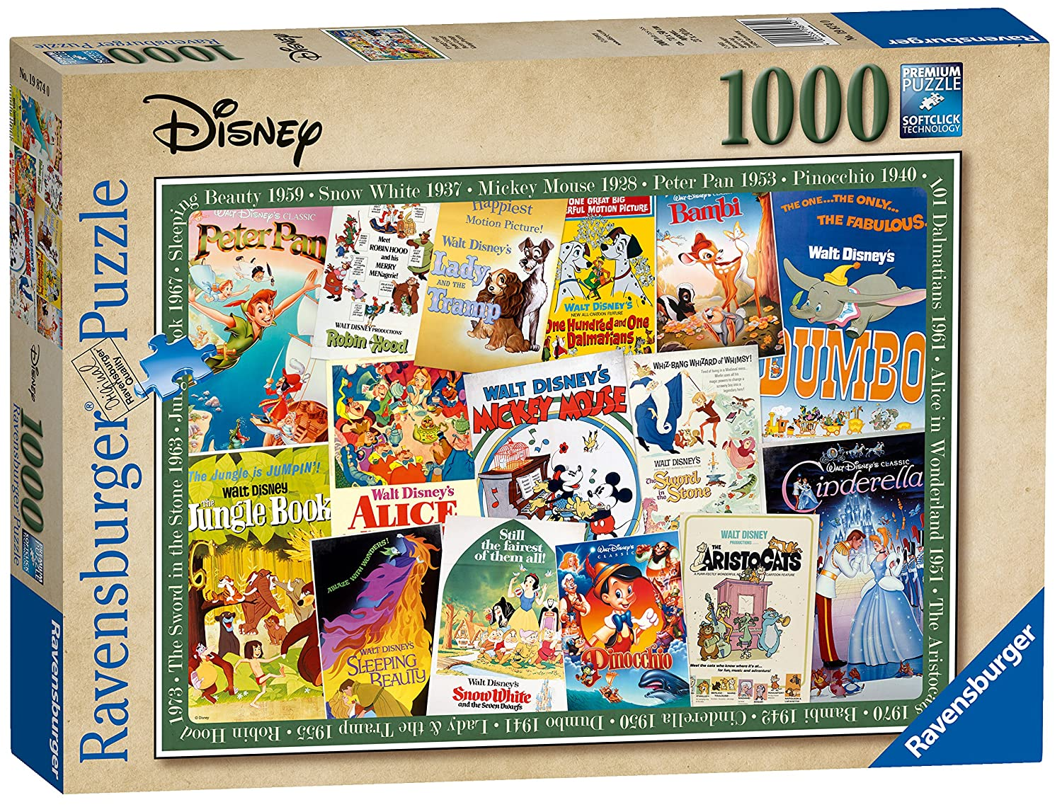 Ravensburger 19874 Disney Vintage Movie Posters 1000 Piece Puzzle for Adults, Every Piece is Unique, Softclick Technology Means Pieces Fit Together Perfectly