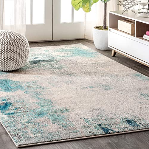 JONATHAN Y CTP104 Contemporary POP Modern Abstract Vintage Cream Blue 5 ft. x 8 ft. Area Rug