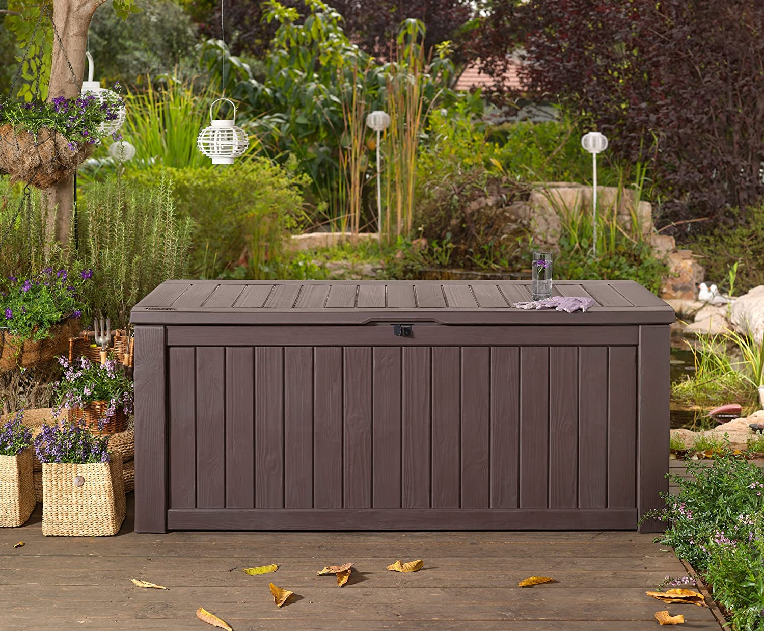 Charmant GARDEN STORAGE BENCH BOX LARGE 570L KETER RESIN FURNITURE LOCKABLE  WATERPROOF: Amazon.co.uk: Garden U0026 Outdoors