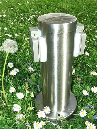 2-fach Außensteckdose Gartensteckdose Edelstahl IP44 Steckdosensäule Rund