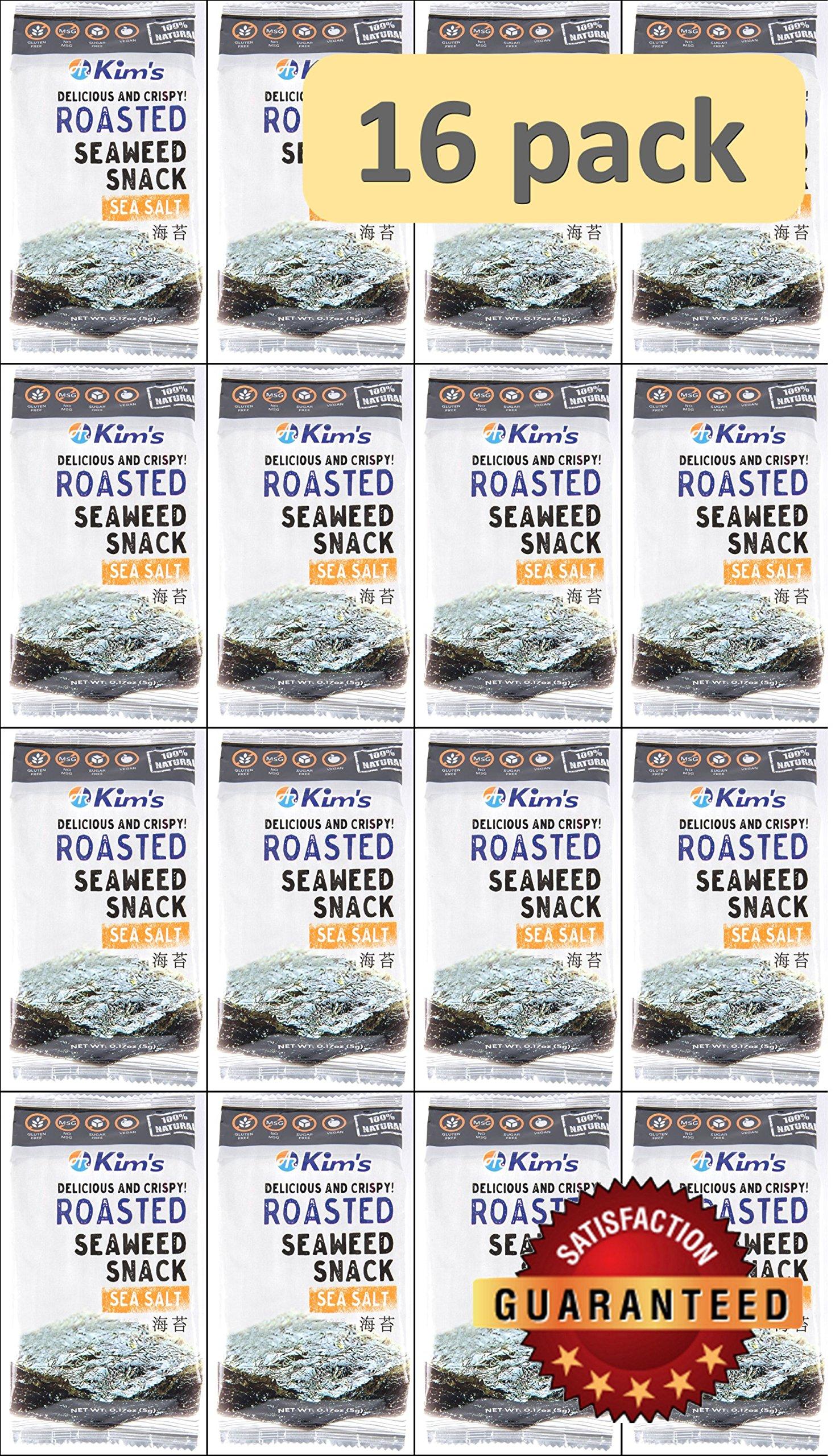 Kim's Seaweed Snacks, Sea Salt, Roasted, 5.0g (Pack of 16)