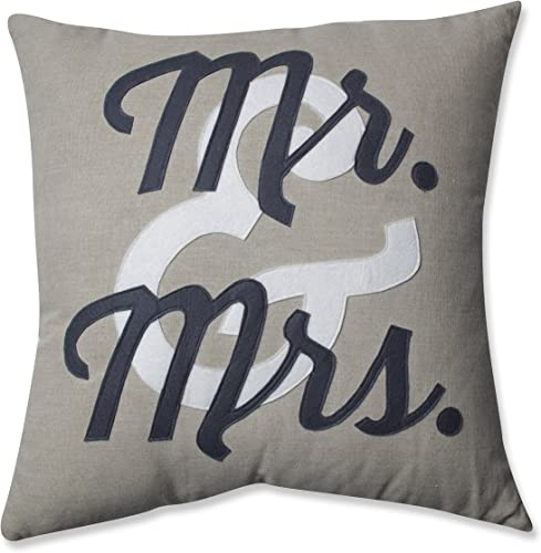 Pillow Perfect Mr. and Mrs. Throw Pillow, 18-Inch,Black