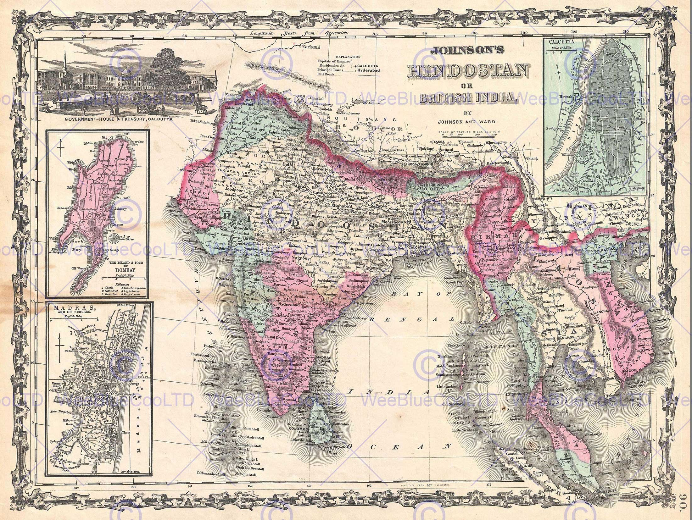1862 JOHNSON MAP INDIA AND SOUTHEAST ASIA VINTAGE POSTER ART PRINT 12x16 inch 30x40cm 2935PY