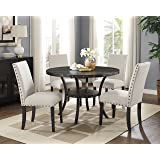 Roundhill Furniture D162TA Biony Dining Collection Espresso Wood Set with Tan Fabric Nailhead Chairs