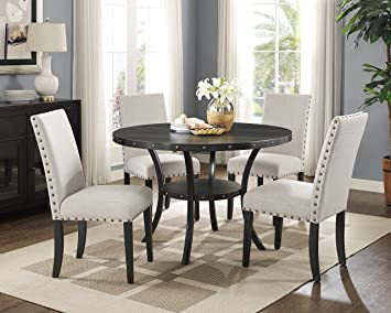 dining room sets with fabric chairs. Roundhill Furniture D162TA Biony Dining Collection Espresso Wood Set with  Tan Fabric Nailhead Chairs Amazon com