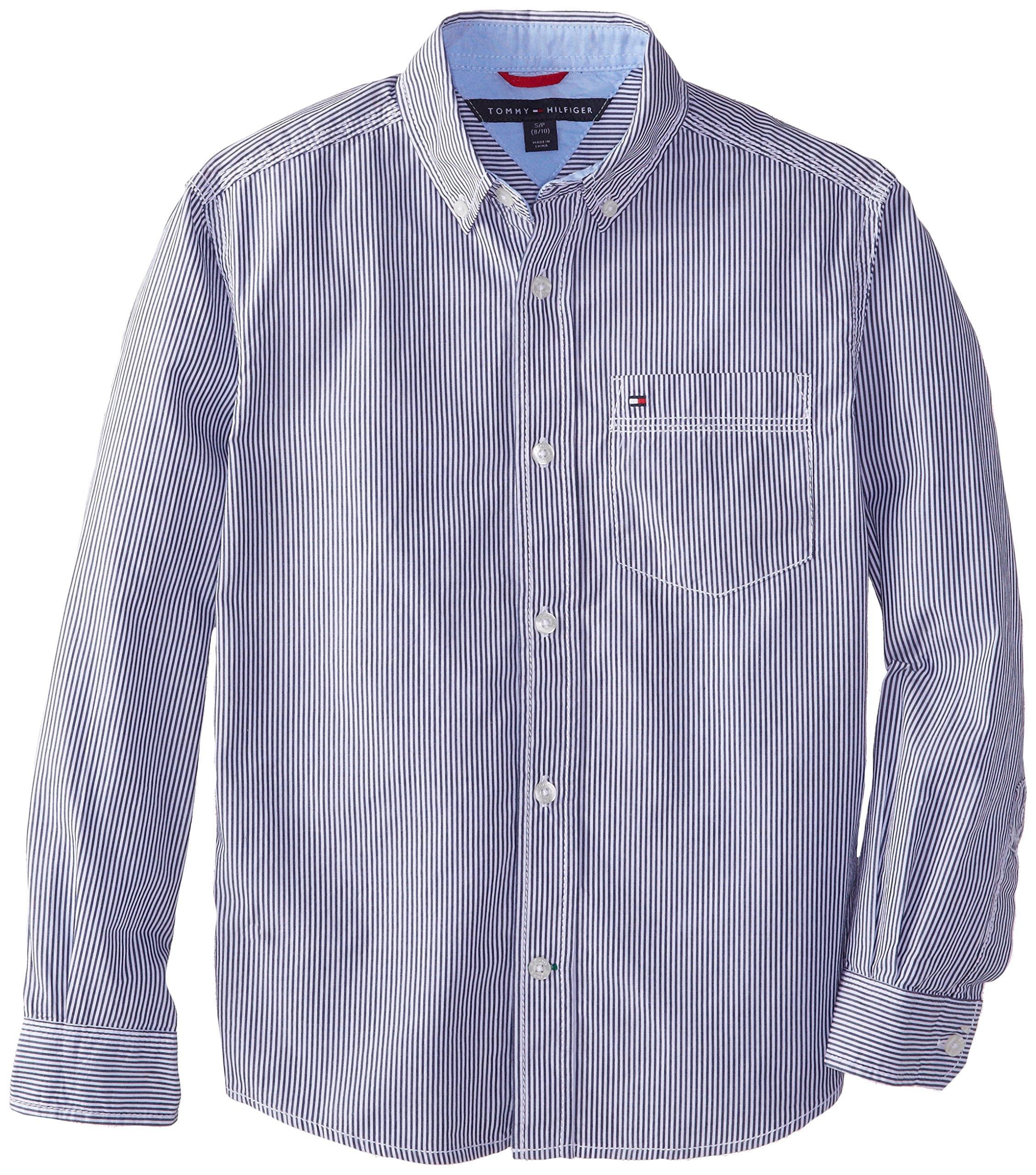 Tommy Hilfiger Big Boys' Long Sleeve Tommy Stripe, Flag Blue, Medium