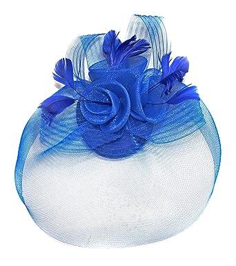 17d4bb4596353 Royal Blue Net Fascinator Hat Veil - Wedding Ascot Races Hair Accessories  Clip  Amazon.co.uk  Clothing