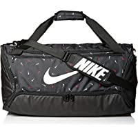 NIKE Brasilia Medium Duffel - 9.0 All Over Print 2, Black/Black/White, Misc