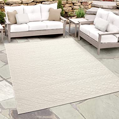 Orian Rugs Jersey Home Indoor/Outdoor Organic Cable Knit Sweater Area Rug, 5'1  x 7'6 , Ivory