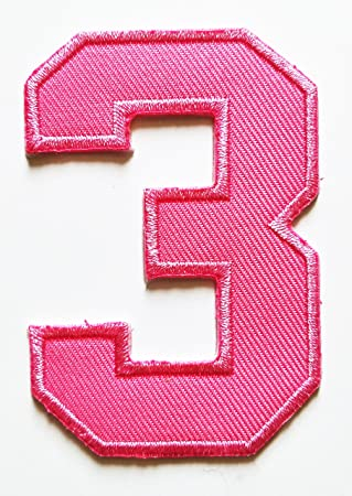 amazon com hho pink number 3 no 3 math counting no 3 school patch