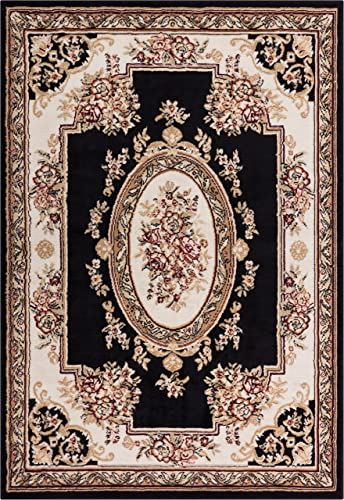 Well Woven Miami Medallion Centre Black Traditional Area Rug 8 2 X 9 10