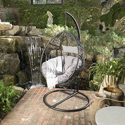 GDF Studio Leasa Outdoor Black Wicker Hanging Basket Chair with Grey Water Resistant Cushions and Black : outdoor hanging basket chair - Cheerinfomania.Com