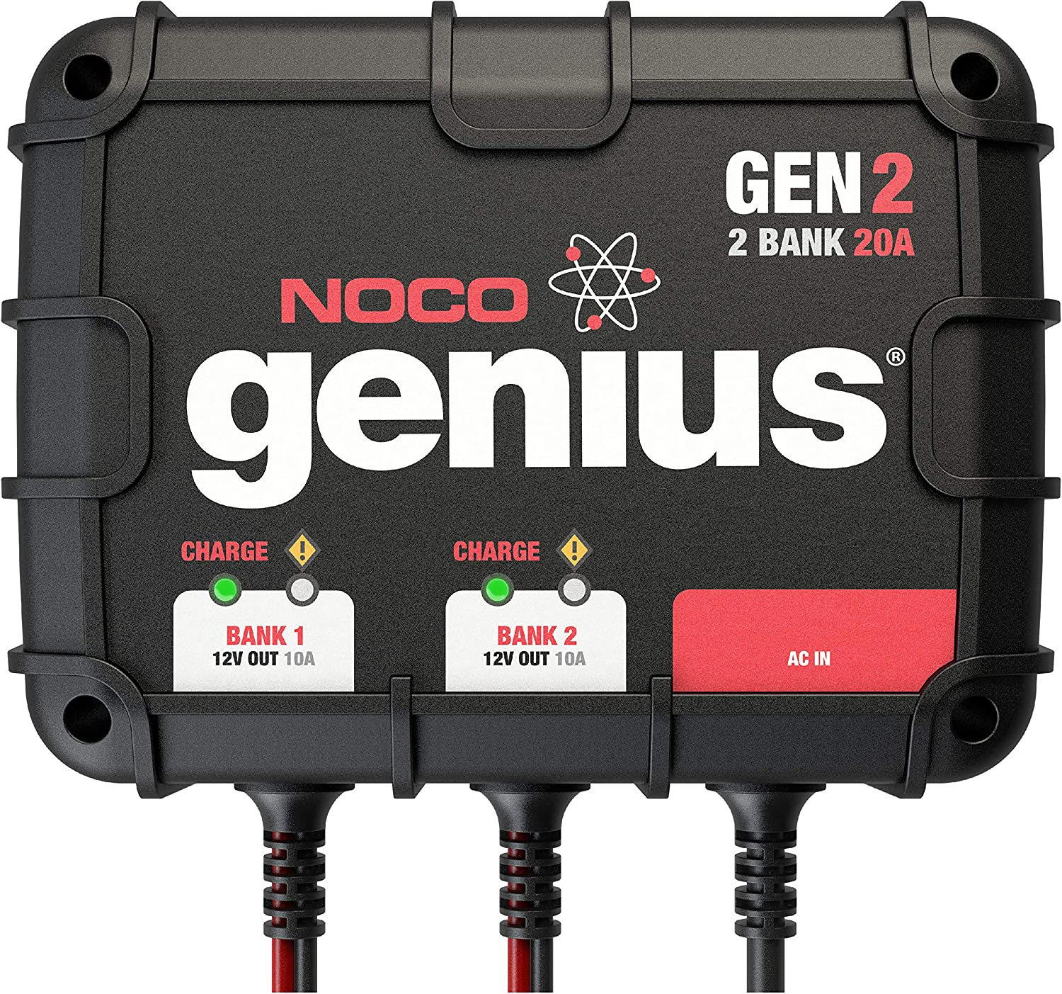 NOCO Genius GEN2, 2-Bank, 20-Amp (10-Amp Per Bank) Fully-Automatic Smart Marine Charger, 12V Onboard Battery Charger And Battery Maintainer: Automotive