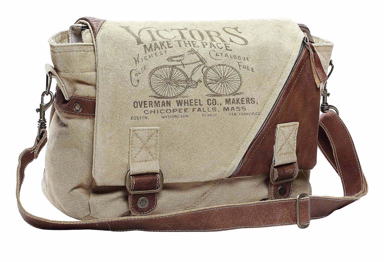 22ccbfde24db Amazon.com: Myra Bag Victors Upcycled Canvas Messenger Bag S-1132 ...