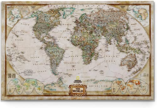 World Travel Map Wall Art Collection Executive National Geographic World Travel Map Prints Wrapped Gallery Wall Art |Ready to Hang